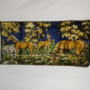 Vtg Horses Velvet Tapestry Wall Art Hanging 38 in